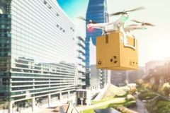 Shipping drone in town. 3d rendering image stock image