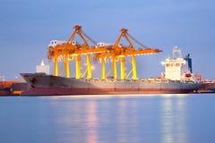 Shipping at dusk Stock Image