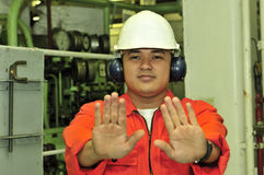 A shipping engineer. Near a panel of ship's automation Royalty Free Stock Photo
