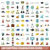 100 shipping examination icons set, flat style. 100 shipping examination icons set in flat style for any design vector illustration stock illustration
