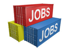 Shipping export containers labeled for job outsourcing, 3D rendering Royalty Free Stock Photos