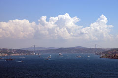 Shipping and ferry traffic near the Bosphorus Royalty Free Stock Photos