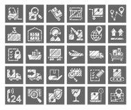 Shipping, flat badges, pencil hatching, gray, vector. royalty free stock image