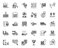 Shipping, flat badges, pencil hatching, monochrome, vector. royalty free stock photography