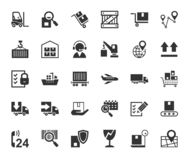 Shipping, flat icons, monochrome, vector. stock images