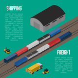 Shipping freight isometric banner Stock Photos