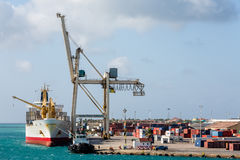 Shipping and Freight Yard on Aruba Stock Photos