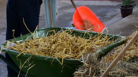 Shipping the hay with hay fork in the barn stock video
