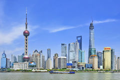 Shipping on Huangpu river with Pudong district on the background, Shanghai, China Stock Photo
