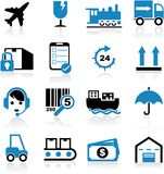 Shipping Icons. Illustration of blue shipping icons royalty free illustration