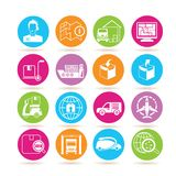 Shipping icons. Collection of 16 shipping icons in colorful buttons Royalty Free Stock Images