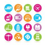 Shipping icons. Collection of 16 shipping icons in colorful buttons Royalty Free Stock Image