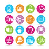 Shipping icons. Collection of 16 shipping icons in colorful buttons Stock Photos