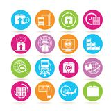 Shipping icons. Collection of 16 shipping icons in colorful buttons Royalty Free Stock Photo