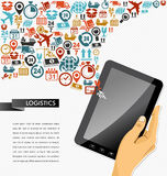 Shipping icons composition human hand tablet app i Royalty Free Stock Photography