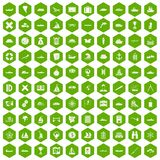 100 shipping icons hexagon green. 100 shipping icons set in green hexagon isolated vector illustration Royalty Free Stock Photo