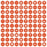 100 shipping icons hexagon orange. 100 shipping icons set in orange hexagon isolated vector illustration Vector Illustration