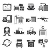 Shipping icons. Set of 16 shipping icons royalty free illustration