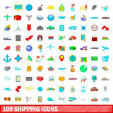 100 shipping icons set, cartoon style. 100 shipping icons set in cartoon style for any design vector illustration Stock Photos