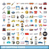 100 shipping icons set, cartoon style. 100 shipping icons set in cartoon style for any design vector illustration Stock Photo