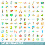 100 shipping icons set, cartoon style. 100 shipping icons set in cartoon style for any design vector illustration Stock Images