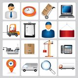Shipping icons. Set of 16 shipping icons, color buttons Stock Photo