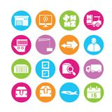 Shipping icons. Set of 16 shipping icons in colorful buttons Stock Images