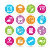 Shipping icons. Set of 16 shipping icons in colorful buttons stock illustration