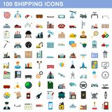 100 shipping icons set, flat style. 100 shipping icons set in flat style for any design illustration vector illustration