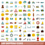 100 shipping icons set, flat style Stock Photography