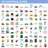 100 shipping icons set, flat style Stock Photo
