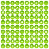 100 shipping icons set green. 100 shipping icons set in green circle isolated on white vectr illustration Stock Illustration