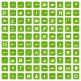 100 shipping icons set grunge green Royalty Free Stock Photos