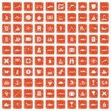 100 shipping icons set grunge orange. 100 shipping icons set in grunge style orange color isolated on white background vector illustration stock illustration