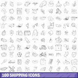 100 shipping icons set, outline style. 100 shipping icons set in outline style for any design vector illustration Stock Illustration