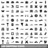 100 shipping icons set, simple style Stock Photo