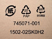 Shipping icons,symbols and codes. On cardboard box Royalty Free Stock Images