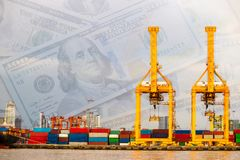 Shipping industrial trade port. Crane bridge, money Stock Photos