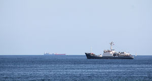 Shipping industry. In Malta just outside the Harbour waiting to go into port Royalty Free Stock Photography