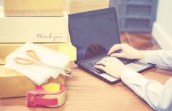 Shipping laptop selling things online ecommerce delivery shopping online and order concept royalty free stock photo