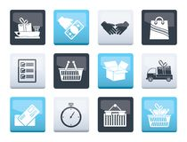 Shipping and logistic icons over color background. Vector icon set royalty free illustration