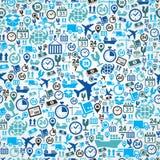 Shipping Logistic Seamless Pattern Blue Icon Set B Royalty Free Stock Image