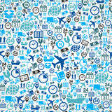 Shipping logistic seamless pattern blue icon set b Royalty Free Stock Image