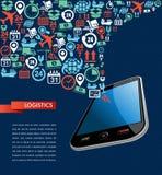 Shipping logistics app mobile text icons splash il Royalty Free Stock Photo