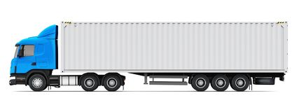 Semi-truck with 40 ft heavy cargo container. Shipping, logistics and freight delivery business commercial concept: 3D render illustration of the side profile Royalty Free Stock Photos