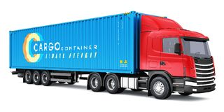 Semi-truck with 40 ft heavy cargo container. Shipping, logistics and freight delivery business commercial concept: 3D render illustration of the yellow semi Royalty Free Stock Image