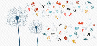 Shipping logistics icons abstract dandelion illust Royalty Free Stock Images