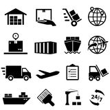 Shipping and logistics icons stock illustration