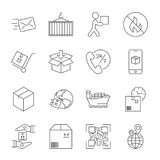 Shipping and Logistics Icons with White Background. Editable Str Royalty Free Stock Photos