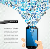 Shipping logistics mobile human hand icons splash. Royalty Free Stock Photos